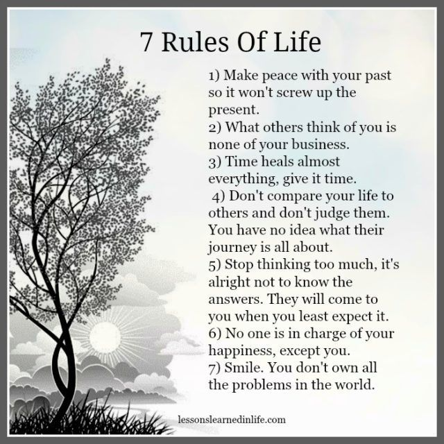Wisdom Quotes Lessons Learned In Life 7 Rules Of Life
