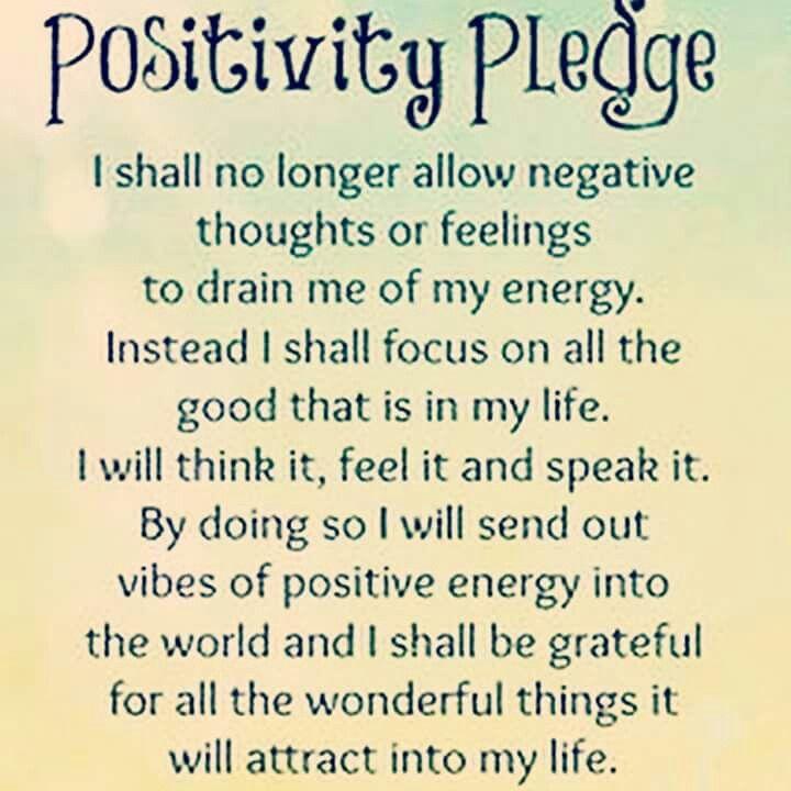 Positivity Pledge I Shall No Longer Allow Negative Thoughts Or