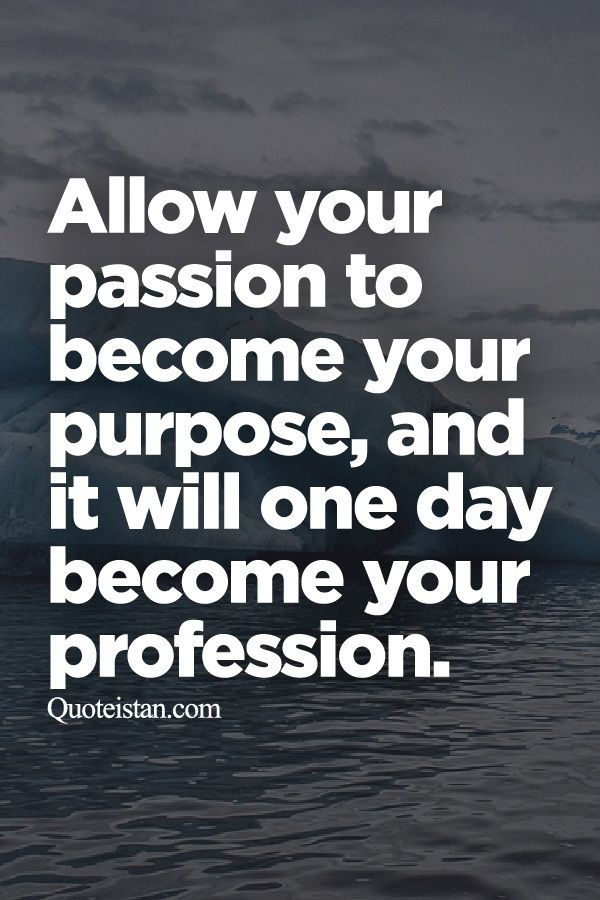 Quotes About Purpose Pleasing Wisdom Quotes  Allow Your Passion To Become Your Purpose And It