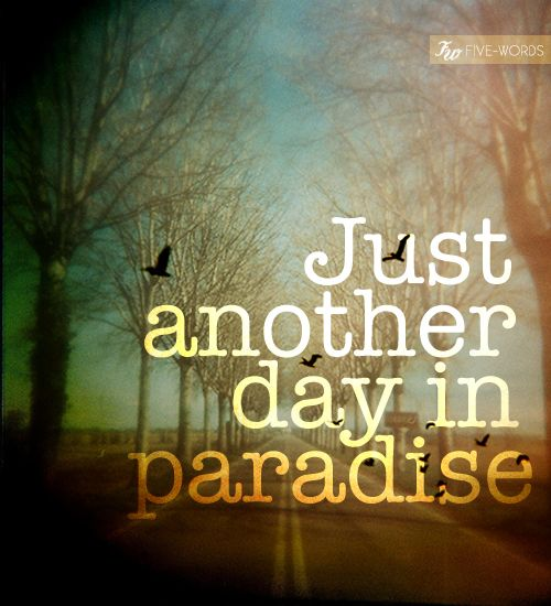 Oh Think Twice It's Just Another Day In Paradise Love That Song Best Paradise Quotes