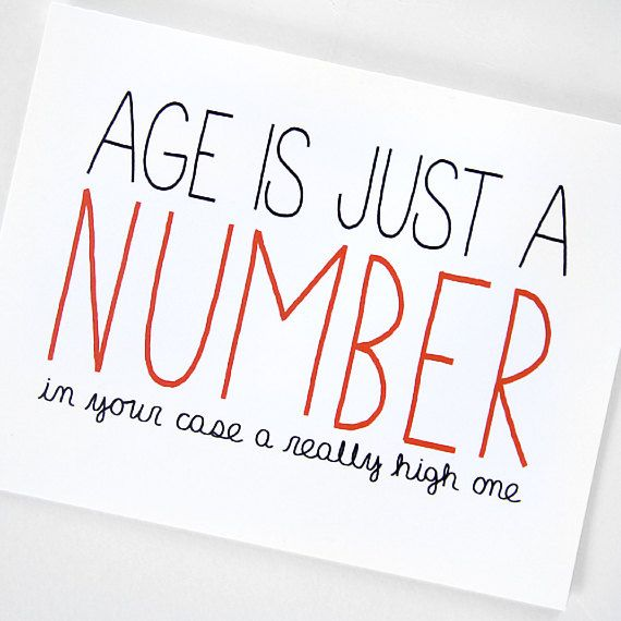 Birthday Quotes Funny Birthday Card Age Is Just A Number Red By