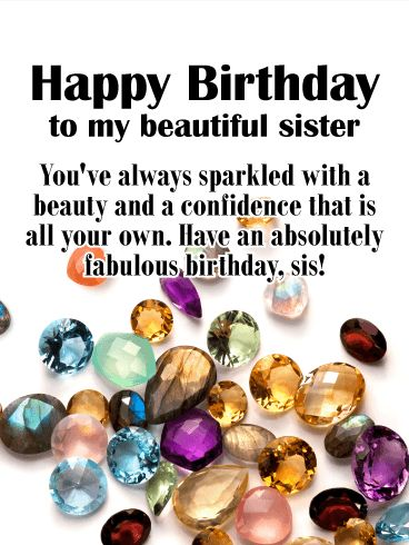 Birthday Quotes Jewel Happy Birthday Card For Sister Dazzle And