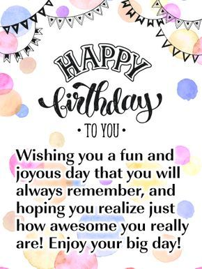 Cheerful Quotes | Birthday Quotes A Joyous Day Happy Birthday Card This Cheerful