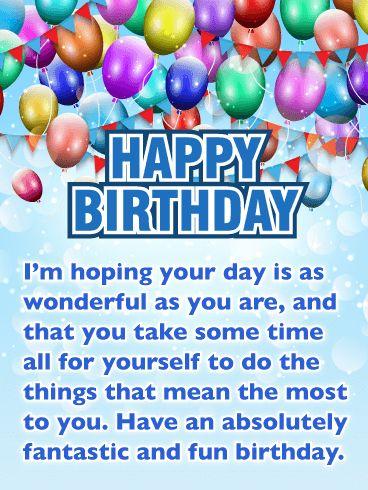 Birthday Quotes Festive Sparkle Balloons Happy Birthday Card