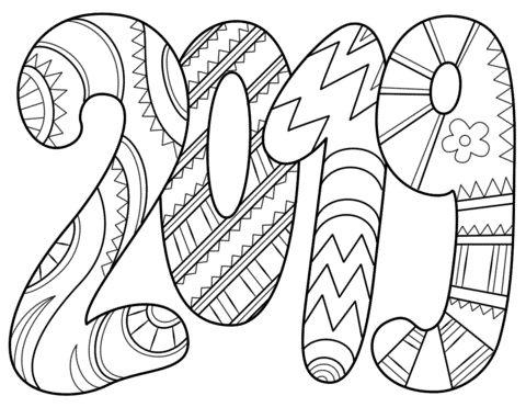 Happy New Year 2019 2019 Text Coloring Page Quotes Of The Day